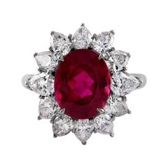 GIA 7.18ct Natural Rubellite Tourmaline Diamond Cluster Platinum Vintage Ring