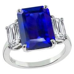 GIA 7.47 Carat Ceylon Sapphire GIA 0.77 Carat and 0.95 Carat Diamond Ring