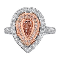 GIA .75 Ct Pear-Shaped Natural Fancy Pink Diamond, 18 Rose Gold and Platinum
