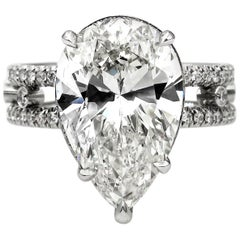 GIA 7.52 Carat Estate Vintage Pear Diamond Engagement Wedding Platinum Ring