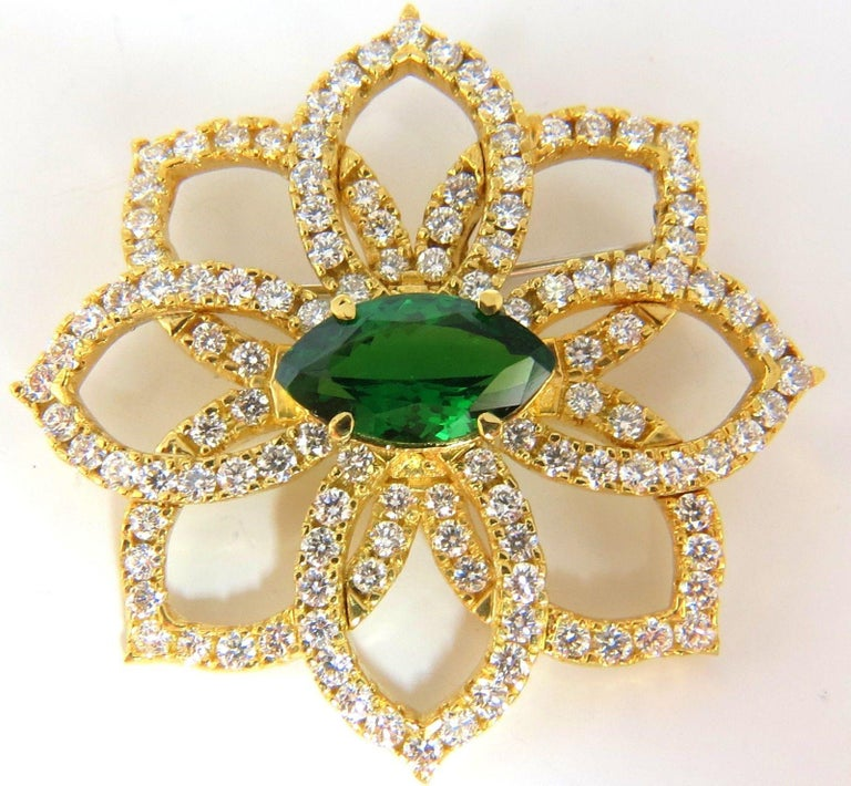 Tsavorite & Petals.  Handmade 3D raised Brooch  GIA Certified:  4.83ct. Natural Green Tsavorite  Marquise Brilliant cut  Clean clarity & Transparent.    2.80ct. diamonds   Rounds & Full cut brilliants in pave / bead set form.   G color Vs-2