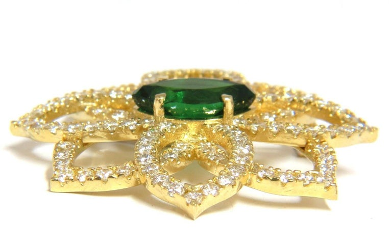 Marquise Cut GIA 7.63 Carat Natural Vivid Green Marquise Tsavorite Diamonds Brooch Pin For Sale