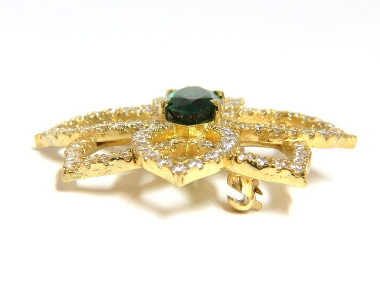 GIA 7.63 Carat Natural Vivid Green Marquise Tsavorite Diamonds Brooch Pin In New Condition For Sale In New York, NY