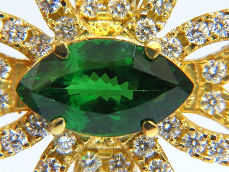 Women's or Men's GIA 7.63 Carat Natural Vivid Green Marquise Tsavorite Diamonds Brooch Pin For Sale