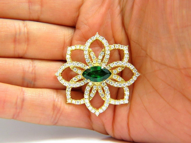 GIA 7.63 Carat Natural Vivid Green Marquise Tsavorite Diamonds Brooch Pin For Sale 1