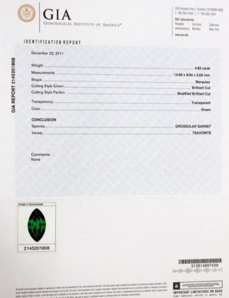 GIA 7.63 Carat Natural Vivid Green Marquise Tsavorite Diamonds Brooch Pin For Sale 4