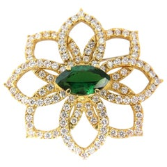 GIA 7.63 Carat Natural Vivid Green Marquise Tsavorite Diamonds Brooch Pin
