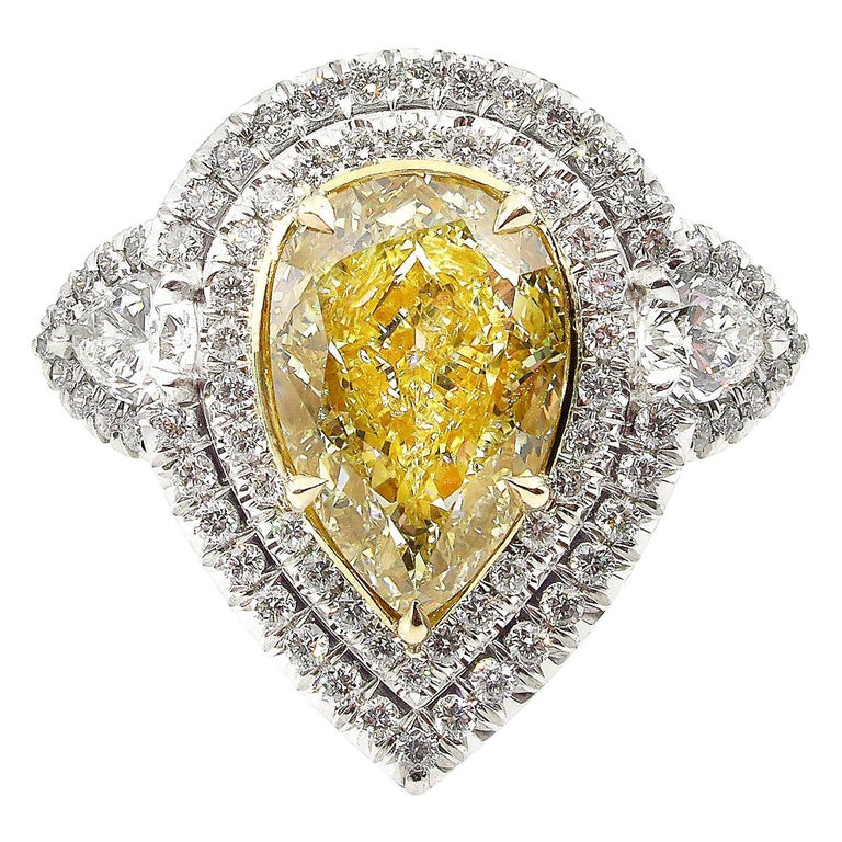 GIA 7.66 Carat Estate Fancy Yellow Pear Diamond Engagement Ring Plat Yellow Gold For Sale