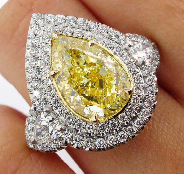 GIA 7.66 Carat Estate Fancy Yellow Pear Diamond Engagement Ring Plat Yellow Gold For Sale 5