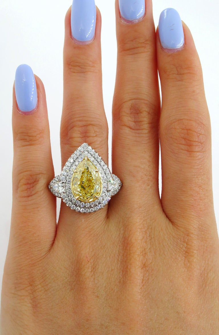 GIA 7.66 Carat Estate Fancy Yellow Pear Diamond Engagement Ring Plat Yellow Gold For Sale 7