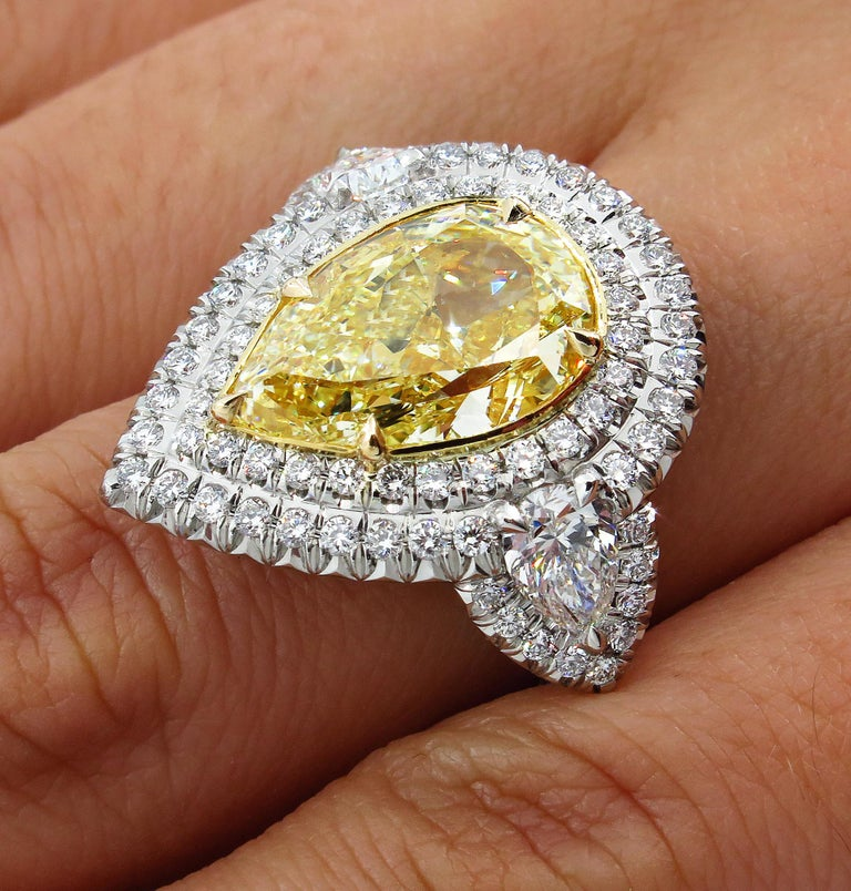 GIA 7.66 Carat Estate Fancy Yellow Pear Diamond Engagement Ring Plat Yellow Gold For Sale 8