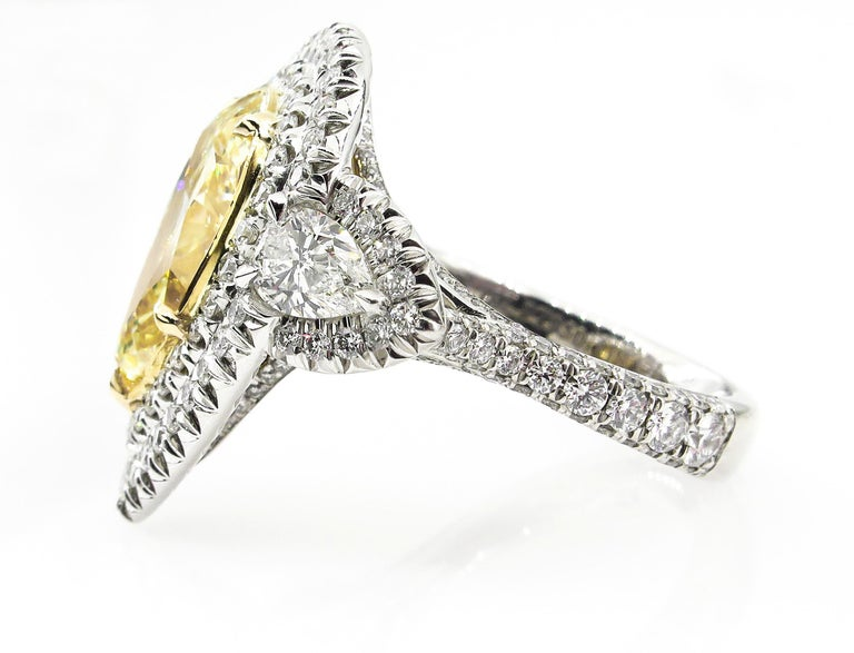 Women's GIA 7.66 Carat Estate Fancy Yellow Pear Diamond Engagement Ring Plat Yellow Gold For Sale