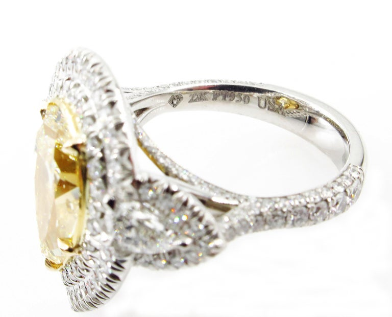 GIA 7.66 Carat Estate Fancy Yellow Pear Diamond Engagement Ring Plat Yellow Gold For Sale 3