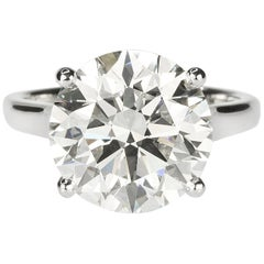 GIA 7.70 Carat Round Brilliant Diamond Ring