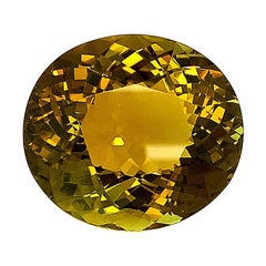 GIA 79.78 Carat Golden Olive Tourmaline Oval, Loose Pendant Collector Gemstone