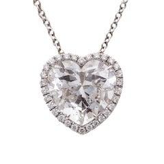 GIA 8.02 Carat GIA E SI1 Heart Shape Diamond Pendant