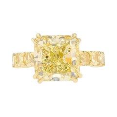 GIA 8.03 Fancy Yellow Cushion Diamond 18k Yellow Gold 2.99ct Diamond Ring