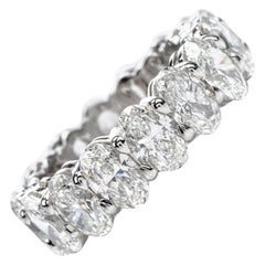 GIA 8.04 Carat Oval Diamond Platinum Eternity Band Ring