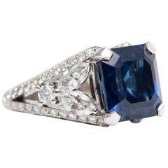 GIA 8.20 Carat Certified Blue Sapphire 2.13 Carat White Diamond Platinum Ring