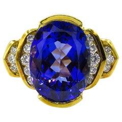 GIA 8.20 Carat Vintage Tanzanite Diamond Engagement Wedding Yellow Gold Ring