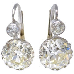 GIA 8.47 Carat Old European Cut Diamond Double Drop Earrings