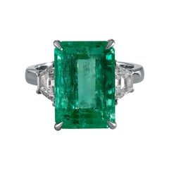 GIA 8.48ct Vintage Colombian Green Emerald Diamond Engagement Wedding Plat Ring