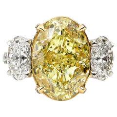 GIA 8.50 Carat Estate Fancy Yellow Oval Diamond 3-Stone Plat Yellow Gold Ring