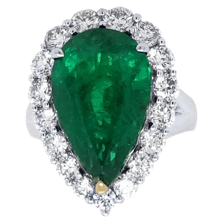 GIA 8.90 Carat Pear Shape Emerald Split Shank Engagement Ring with Halo For Sale