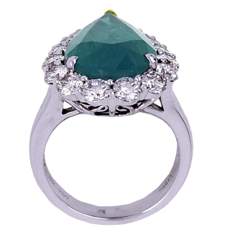 Pear Cut GIA 8.90 Carat Pear Shape Emerald Split Shank Engagement Ring with Halo For Sale
