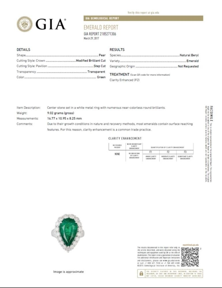 GIA 8.90 Carat Pear Shape Emerald Split Shank Engagement Ring with Halo In New Condition For Sale In Los Angeles, CA