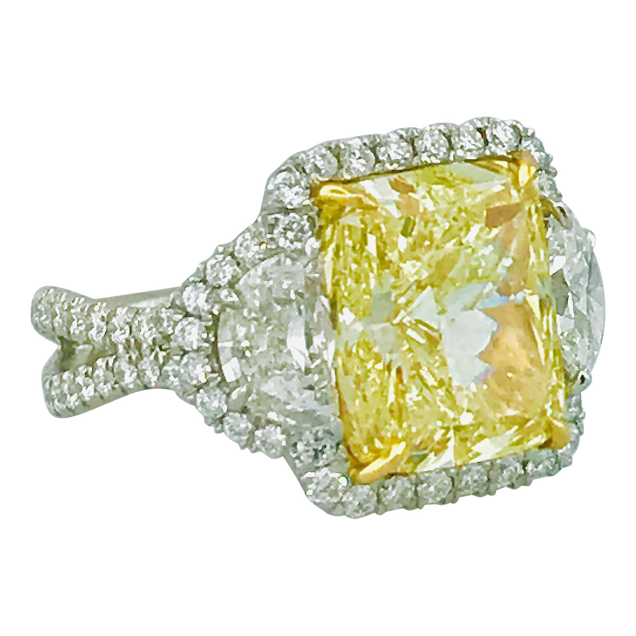 GIA 9 Carat Diamond Total Weight Fancy Yellow Diamond 3-Stone Platinum Ring