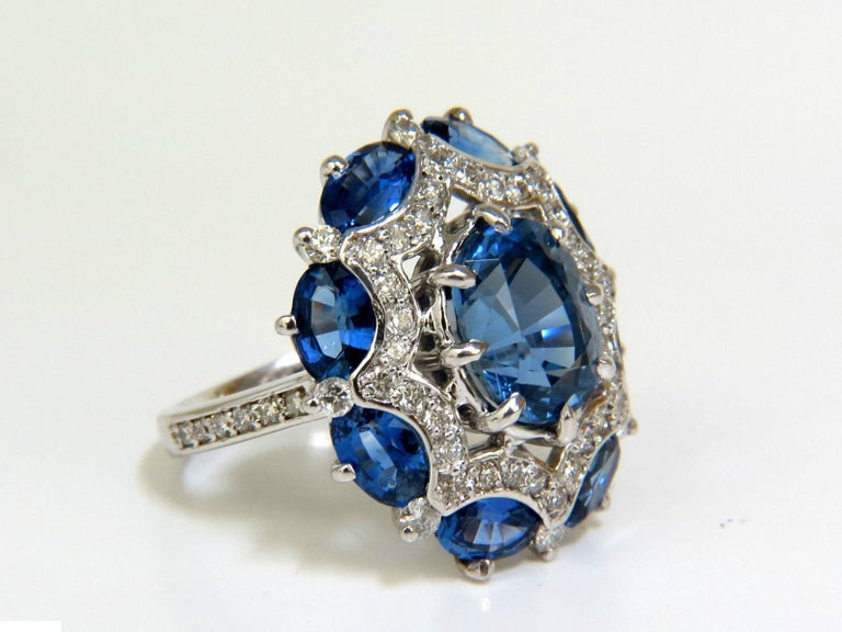 Women's or Men's GIA 9.10 Carat Natural Gem No Heat Sapphire Diamond Ring Cocktail Unheated For Sale