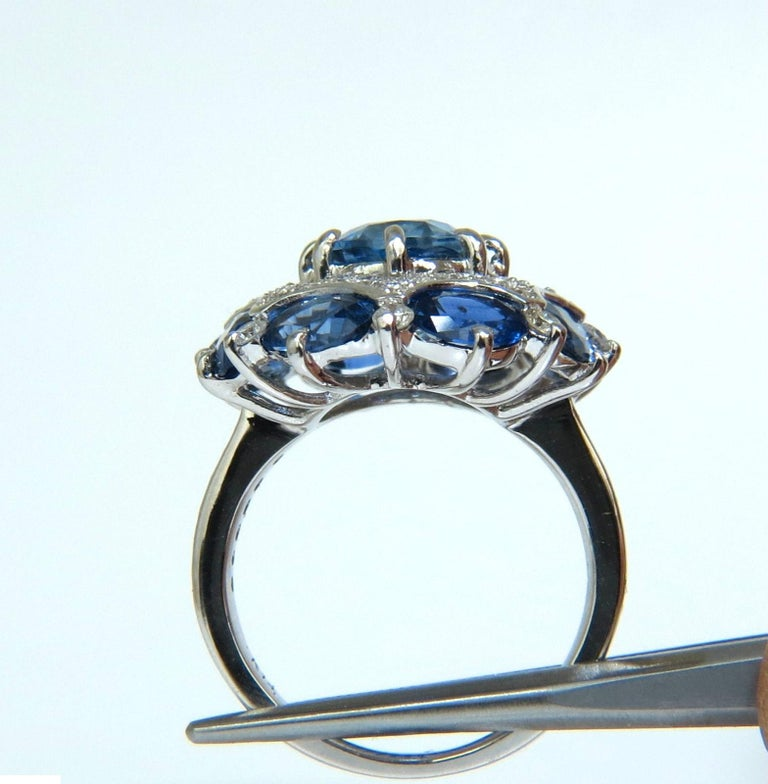 GIA 9.10 Carat Natural Gem No Heat Sapphire Diamond Ring Cocktail Unheated For Sale 2