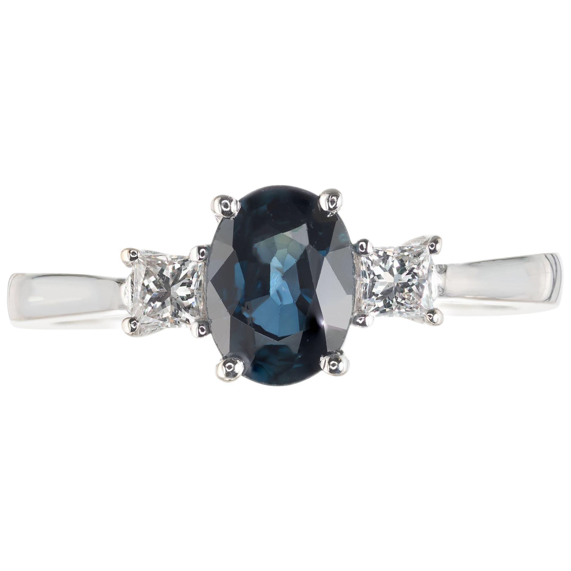 GIA .92 Carat Royal Blue Sapphire White Gold Diamond Three-Stone Engagement Ring