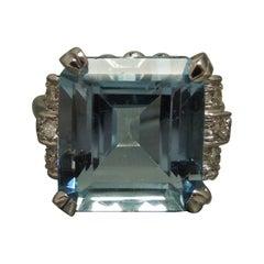 GIA 9.50 Carat Square Aquamarine Ring