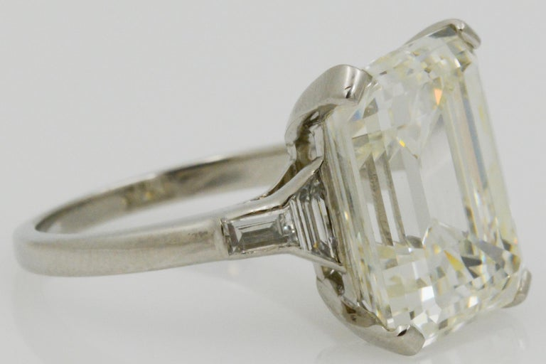 GIA 9.66 Carat Emerald Cut and 5-Stone Diamond Ring For Sale 6