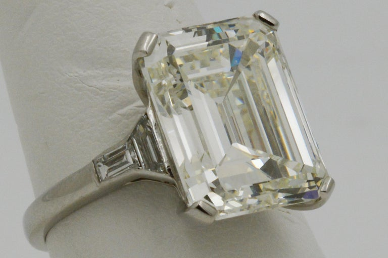 GIA 9.66 Carat Emerald Cut and 5-Stone Diamond Ring For Sale 8
