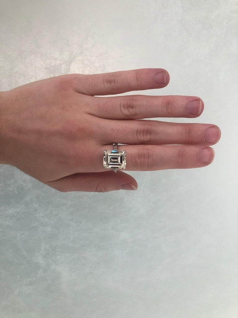 GIA 9.66 Carat Emerald Cut and 5-Stone Diamond Ring For Sale 9