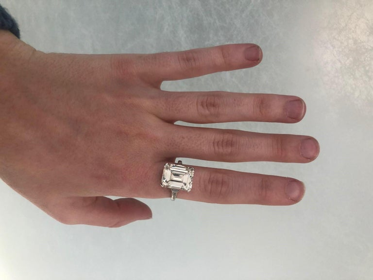 GIA 9.66 Carat Emerald Cut and 5-Stone Diamond Ring For Sale 11