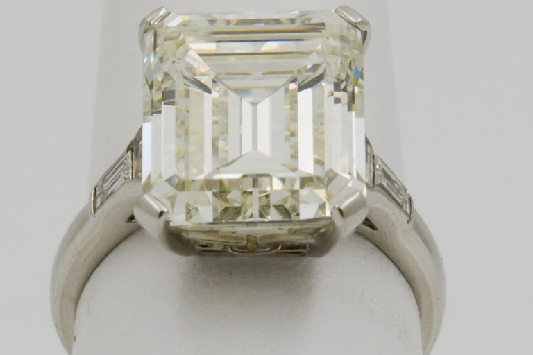 Modern GIA 9.66 Carat Emerald Cut and 5-Stone Diamond Ring For Sale
