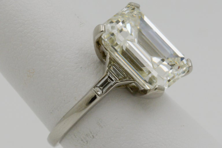 GIA 9.66 Carat Emerald Cut and 5-Stone Diamond Ring In New Condition For Sale In Dallas, TX