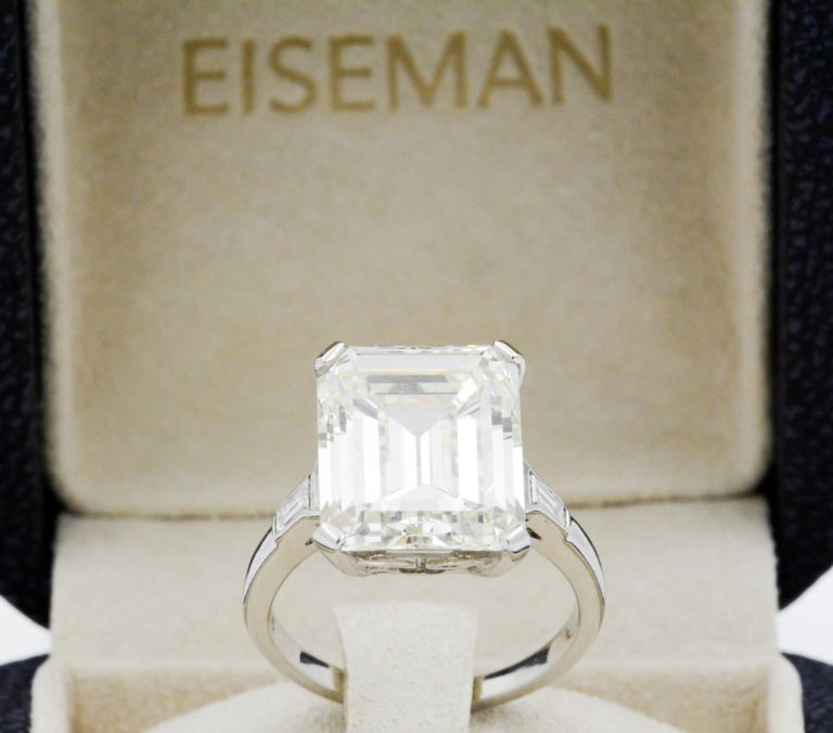 GIA 9.66 Carat Emerald Cut and 5-Stone Diamond Ring For Sale 2