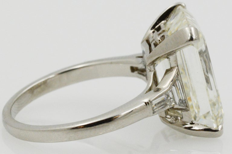 GIA 9.66 Carat Emerald Cut and 5-Stone Diamond Ring For Sale 3