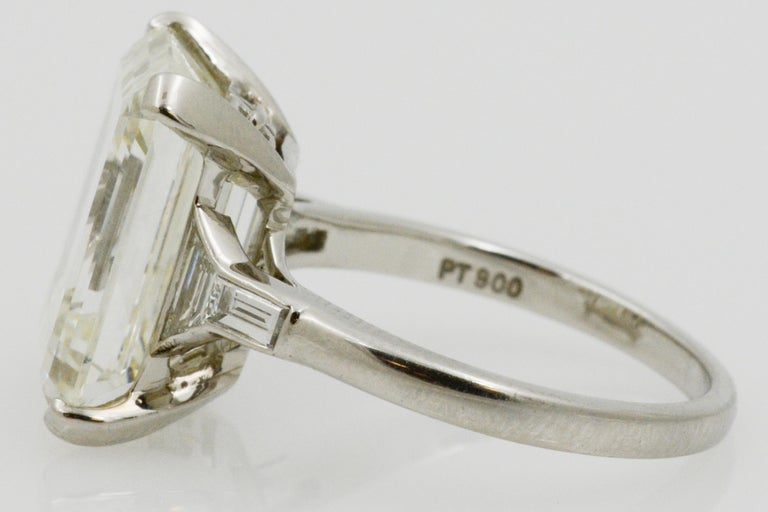 GIA 9.66 Carat Emerald Cut and 5-Stone Diamond Ring For Sale 4