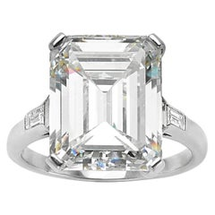 GIA 9.66 Carat Emerald Cut and 5-Stone Diamond Ring