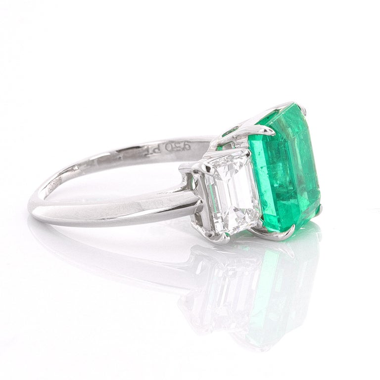 Modern GIA and AGL Certified, Three-Stone Emerald and Diamond Ring For Sale