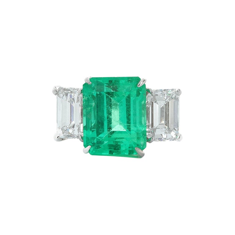 GIA and AGL Certified, Three-Stone Emerald and Diamond Ring For Sale