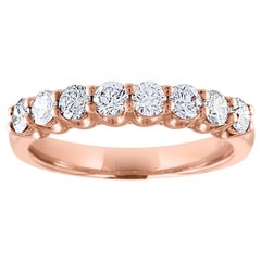 GIA and IGI Certified 0.80 Carat Diamond Eight-Stone Half Band Gold Ring