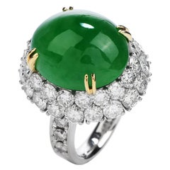 GIA Apple Green Jade Diamond Platinum and Gold Halo Oval Cocktail Ring