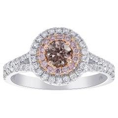 GIA Argyle Fancy Brownish Pink Round Diamond Double Halo Ring